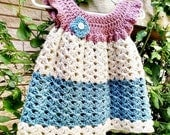 Pretty Baby Girl Crochet Pinafore - Baby Girl Crochet Dress - 6 to 9 Months - Ready to Ship
