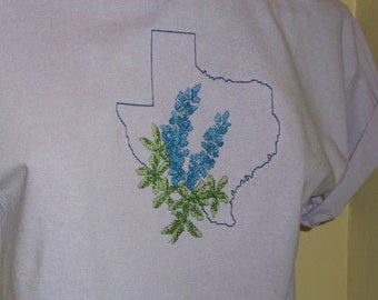 Bluebonnet Cross Stitch T-Shirt in Orchid