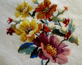 Vintage Floral Needlepoint Canvas Panel Completed Wool Pillow Chair Footstool Cover Orange Yellow Pink Blue