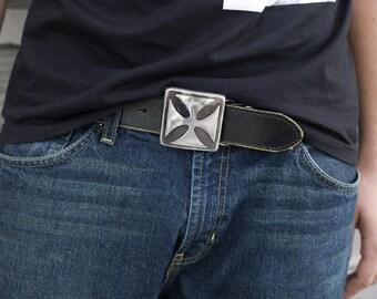 Iron Cross Metal Belt Buckle /Handmade by WATTO Distinctive Metal Wear / Chopper Buckle / Gift for Him / Mens Buckle / Belt Buckles for Men
