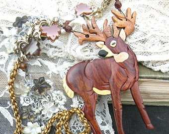 fall deer necklace assemblage statement leaves wood upcycle whitetail