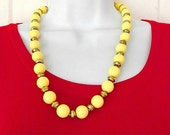 Vintage Yellow Necklace, Beaded Necklace, Necklace Beads, Costume Jewelry, Retro 1960s Jewelry, Casual Dressy Necklace Jewelry