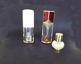 Vintage Perfume Bottle and Cosmetic Jar Set, Bill Blass for Women, Helena Rubinstein, Raffinee Houbigant France, Fragrance Supplies,