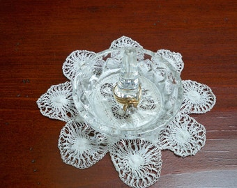Vintage Home Decor Round Glass Ring Dish