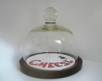 Vintage Cheese Dish Glass Dome Wood & Tile Base Cloche Mouse Cheese Dish