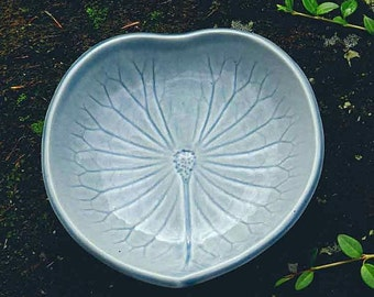 PAIR of Lily Pad Shallow Bowl for Dessert or Salad / hand built pottery