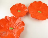 Made to Order - Ceramic Poppy Wall Art Bright Orange Poppy Flower Wall Decor