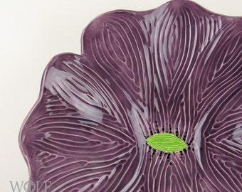 Ceramic Sculpture Wall Art Grape Purple Poppy Flower Home Decor Wall Decor