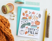 Happy Fall seasonal Folded Note Cards, Autumn, Stationery, Hand Drawn, Illustration, Thanksgiving, Notecards, Greeting Cards