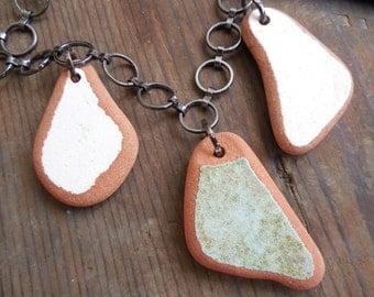 sea glass pottery necklace