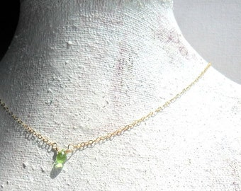 Dainty Peridot Necklace Gold Necklace / August Birthstone Gift for her /  Everyday Simple Jewelry / Layering Minimal  Gold Filled Necklace