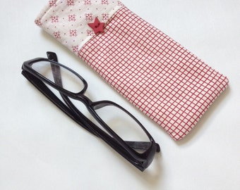 Reading Glasses Case - red and ivory cotton, small, soft eyeglasses sleeve, readers cozy,  travel accessory for purse, gift idea, holder