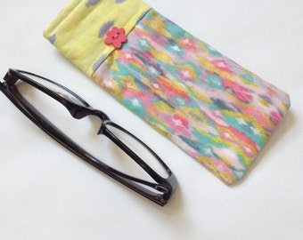 Reading Glasses Case - yellow and aqua cotton, small, soft eyeglasses sleeve, readers cozy, travel accessory for purse, holder, gift shop
