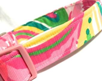 Lilly Pulitzer Fabric Dog Collar Boy Girl Pink All Nighter Swirl