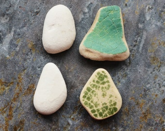 Beach Pottery Charms. Undrilled. Lot E6. Mint, Green, Blue