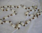 Vintage Long White Glass Beads Milk Glass Mid Century