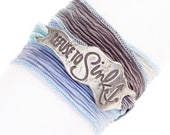 Inspirational Silk Wrap Bracelet, Refuse To Sink, Nautical Jewelry, Anchor Bracelet, Made in America, Sterling Silver