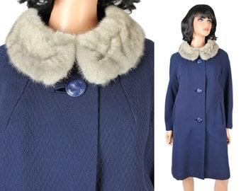 Vintage Princess Coat Sz M 60s Dark Blue Wool Gary Mink Fur Collar Winter Jacket Free US Shipping