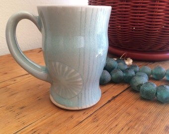 Pottery Coffee Cup: Hand Thrown Blue Celedon