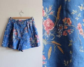 Vintage Blue Floral Linen High Waist Shorts