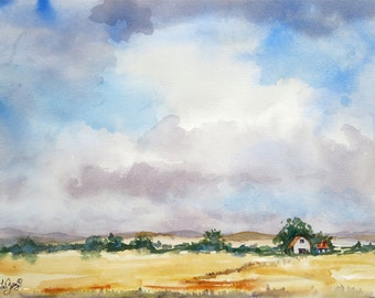 Landscape Art / ORIGINAL watercolor Painting / Nature prairie big sky countryside / Color field blue sand / Fine art wall art 10 x 13 in