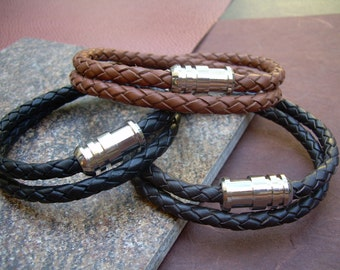 Mens Thick Double Wrap Braided Leather Bracelet with Stainless Steel Magnetic Clasp, Mens Jewelry, Mens Bracelet, Leather Bracelet