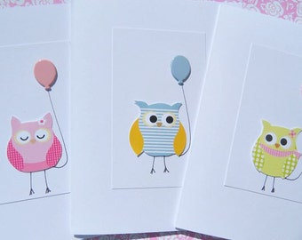 Owl Cards - Kids Birthday Cards - Baby Shower Cards - Welcome Baby Cards - Balloon Cards-  Baby Owl Cards - OCD