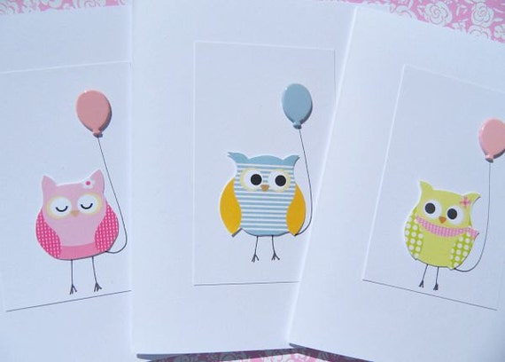 Owl Cards Kids Birthday Cards Baby Shower Cards Welcome