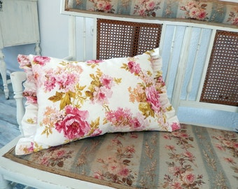 beautiful decorative linen blend fabric with roses and blooms pink and cottage