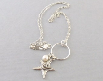 Sterling Silver Star Necklace - Oxidized Sterling Necklace - Swirl Star Necklace - White Freshwater Pearl Necklace - Pearl Necklace - N051