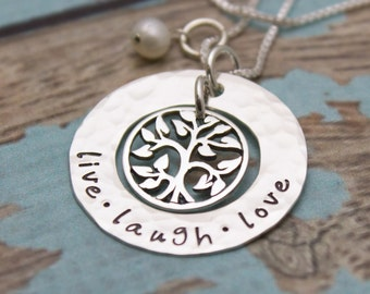 Family Tree Necklace - Personalized - Hand Stamped - Sterling Silver
