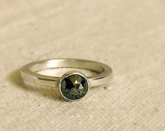 Golden Pyrite & Sterling Silver Stacking Ring