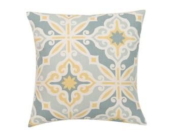 BLUE Pillow Cover.Decorator Pillow Cover.Home Decor.Large Print. HARFORD SAFFRON.Cushions. Cushion.Pillow. Premier Prints