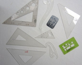 vintage Keuffel Esser Drafting Triangle Curves Stencils