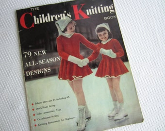 Vintage 1955 The Children's Knitting Book Knit Patterns for Children