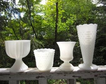 Vintage Milk Glass White Pedestal Compote Bowl Vases Set of 4