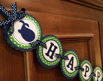 Whale of Fun Banner - Whale Birthday Banner, Whale Shower Banner, Preppy Whale Banner