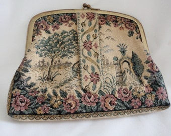 victorian purse, tapestry clutch, vintage tapestry bag, tapestry purse, steampunk bag, victorian bag, antique look bag