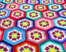 Made to Order.Hexagon flower hand crocheted blanket / afghan. Free US shipping.