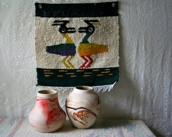 Vintage Ecuadorian Woven Textile Wall Hanging Colorful Wool Two Birds Weaving SALE