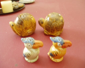 Vintage Snail/Turtle and Tucan Salt and Pepper Shakers