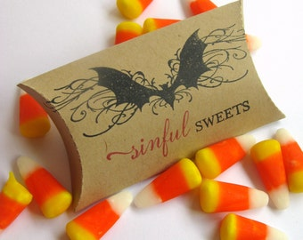 Halloween Treat Boxes, Halloween, Halloween Packaging, Elegant Halloween, Halloween Party Supplies, Bat, Halloween Pillow Box, Candy Wrapper