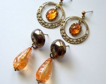 Burnt Orange Jewelry Vintage 80s Simple 2 Piece Set Gold Dangle Drop Earrings