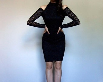 Vintage Cut Out Dress 80s Fitted Black Lace Bodycon Party Dress Mini Sheer Long Sleeves - Extra Small XS