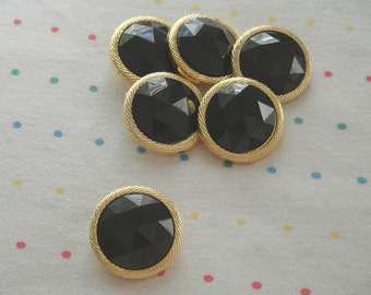Black Faceted Gemstone Buttons, Gold Border, Shank Buttons (6)