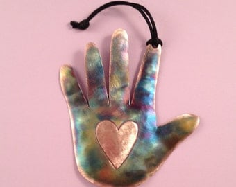 Copper Hand with Heart Ornament