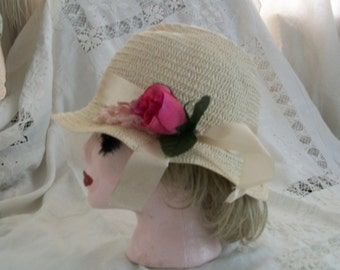1920s Flapper Cloche Hat Cream Satin Ribbon Silk Rose Pale Natural Straw Brand New Orig Design One Size Fits Most