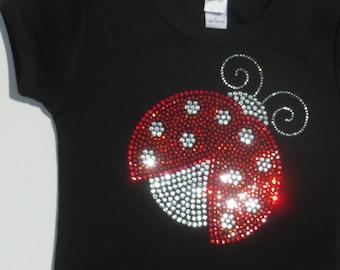 Girls Size 8, 10, 12 clear/red Ladybug rhinestone bling shirt