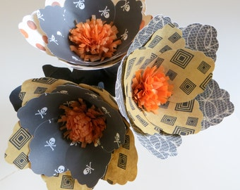 Sophisticated Spook - colorful set of 3 handmade paper flowers