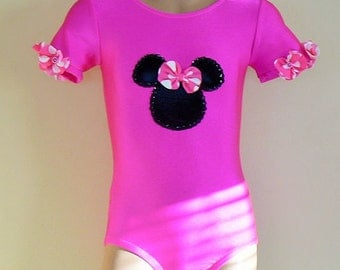 Short Sleeve Leotard with Minnie Mouse Applique. Size 2T through Girls 12
